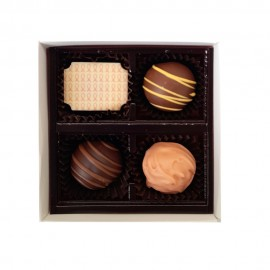 Belgian Chocolate White Gift Box with Clear Lid and filled with with Printed and Flavoured Chocolate
