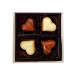 Belgian Chocolate Gift Box with 4 X Flavoured Chocolates and branded with Custom Printed Swing Tag and Ribbon
