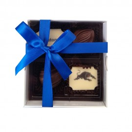 Belgian Chocolate White Gift Box with Clear Lid and filled with with 2 X Printed and 2 X Flavoured Chocolate