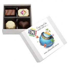 Belgian Chocolate Gift Box with Printed Chocolate and Custom Printed Sleeve (White Box)