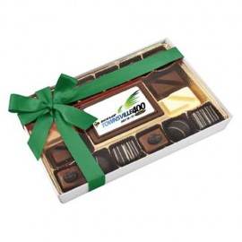 12PC Belgian chocolate gift box with a Custom Printed Chocolate Centre Piece