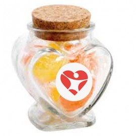 Glass Heart Jar with Acid Drops (Corporate Colour)