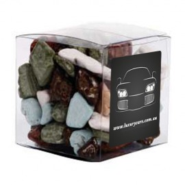 Small Clear Cube with Chocolate Rocks