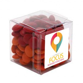 Big Clear Cube with Chocolate Gems (Corporate Colour)