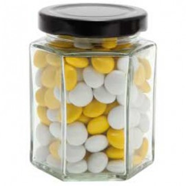Large Hexagon Jar with Chocolate Gems (Corporate Colour)