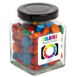 Small Square Jar with Mixed Chocolate Gems