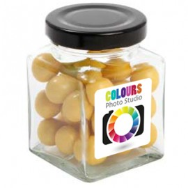 Small Square Jar with Chocolate Balls (Corporate Colour)