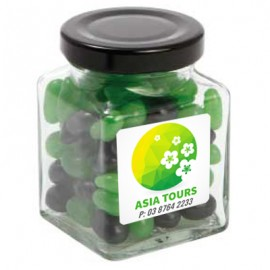 Small Square Jar with Mini Jelly Beans (Corporate Colour)