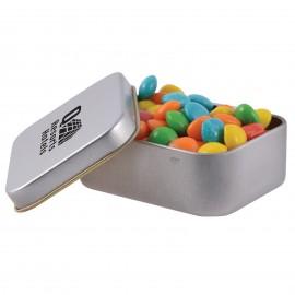 Assorted Colour Rainbow Chews in Silver Rectangular Tin