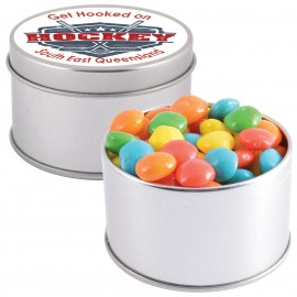 Assorted Colour Rainbow Chews in Silver 2 Piece Round Tin