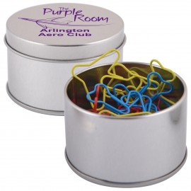 Assorted Colour Plane Paperclips in Silver Round Tin