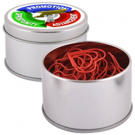 Red Heart Paperclips in Silver Round Tin