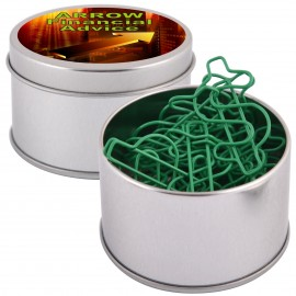 Green Dollar Sign Paperclips in Silver Round Tin
