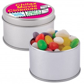 Assorted Colour Mini Jelly Beans in Silver 2 Piece Round Tin