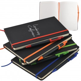 A5 Black PU Notebook with Elastic Closure
