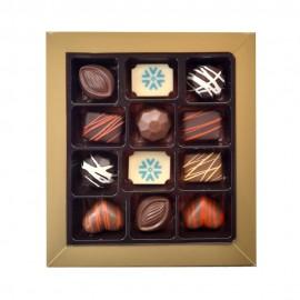 12 Pc Chocolate Gift Box with 2 Printed Premium Belgian Chocolates and 10 Flavoured Belgian Chocolates
