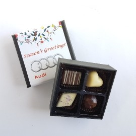 4 Flavored Belgian Chocolate Gift box with customised sleeve
