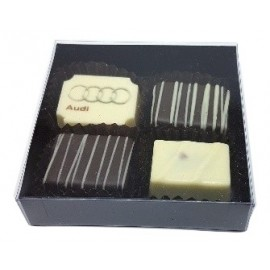 4pc -black /clear gift box with 1 customised and 3 flavoured belgian chocolate