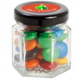 Small Hexagon Jar with M&Ms
