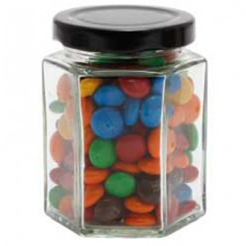 Large Hexagon Jar with M&Ms