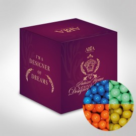 Custom Printed Mini Cube with Chocolate Balls (Corporate Colour)