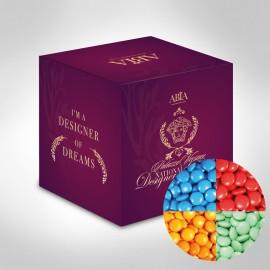 Custom Printed Mini Cube with Chocolate Gems (Corporate Colour)