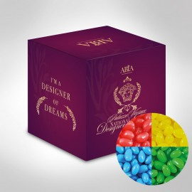 Custom Printed Mini Cube with Mini Jelly Beans (Corporate Colour)