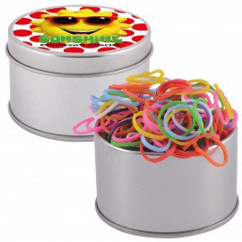 Logo Loom Bands in Silver Round Tin