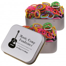 Logo Loom Bands in Silver Rectangular Tin