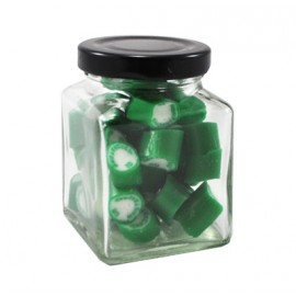 Custom Colour and Flavour Rock candy in a Small Square Jar